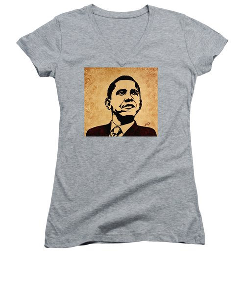 Barack Obama Original Coffee Painting Women's V-Neck T-Shirt (Junior Cut) by Georgeta  Blanaru