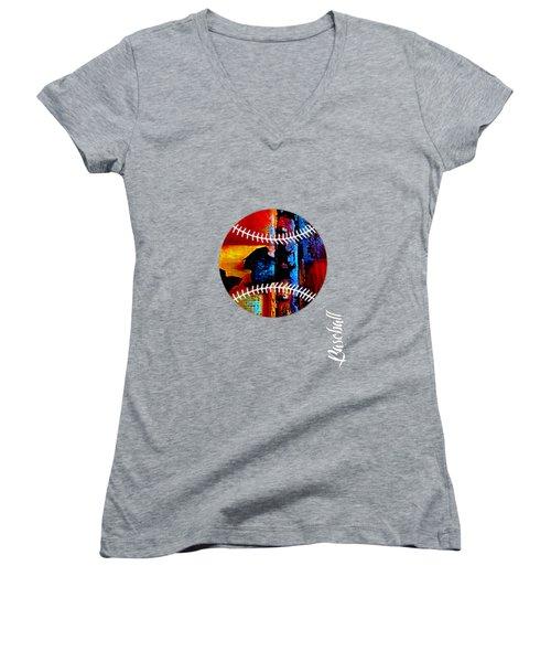 Baseball Collection Women's V-Neck T-Shirt (Junior Cut) by Marvin Blaine