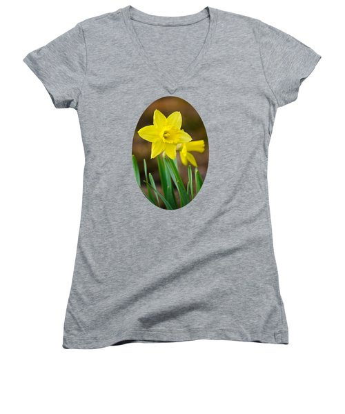 Beautiful Daffodil Flower Women's V-Neck T-Shirt (Junior Cut) by Christina Rollo