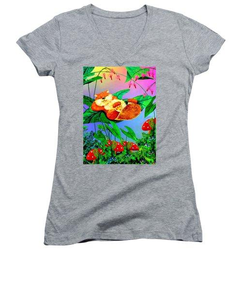 Beaver Bedtime Women's V-Neck T-Shirt (Junior Cut) by Hanne Lore Koehler