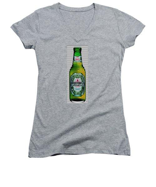 Beer Ripples Women's V-Neck T-Shirt (Junior Cut) by David Balber