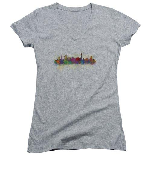 Berlin City Skyline Hq 5 Women's V-Neck T-Shirt (Junior Cut) by HQ Photo