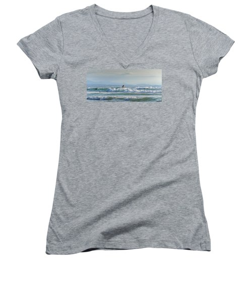 Women's V-Neck T-Shirt (Junior Cut) featuring the photograph Big Surf Invitational I by Thierry Bouriat