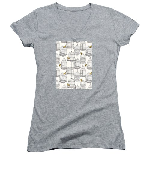 Birdcages Women's V-Neck T-Shirt (Junior Cut) by Stephanie Davies