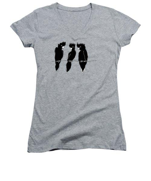 Black Cockatoos Women's V-Neck T-Shirt (Junior Cut) by Matt Mawson