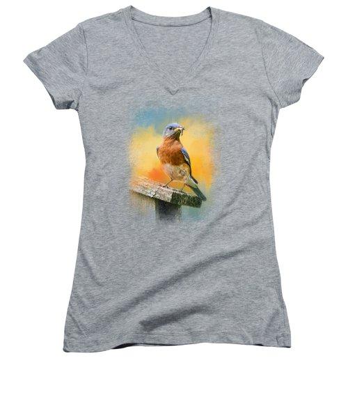 Bluebird Mealtime Women's V-Neck T-Shirt (Junior Cut) by Jai Johnson