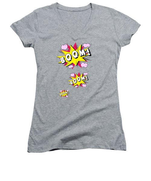 Boom Comics Women's V-Neck T-Shirt (Junior Cut) by Mark Ashkenazi
