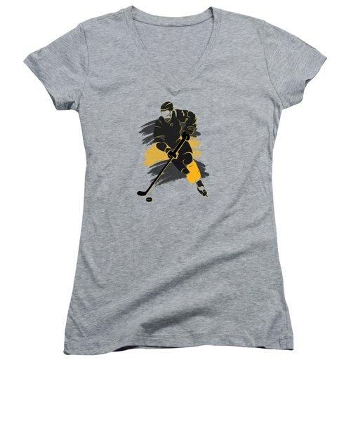 Boston Bruins Player Shirt Women's V-Neck T-Shirt (Junior Cut) by Joe Hamilton