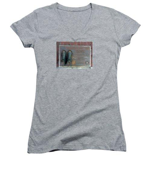 Boston Celtics Larry Bird Women's V-Neck T-Shirt (Junior Cut) by Gina Sullivan