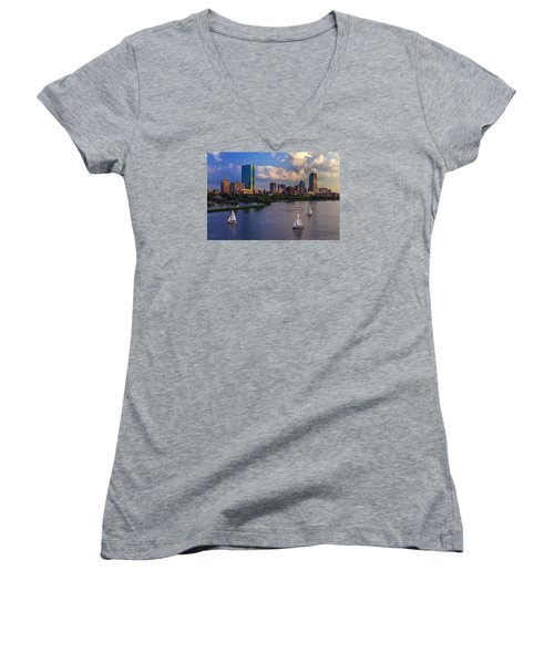 Boston Skyline Women's V-Neck T-Shirt (Junior Cut) by Rick Berk