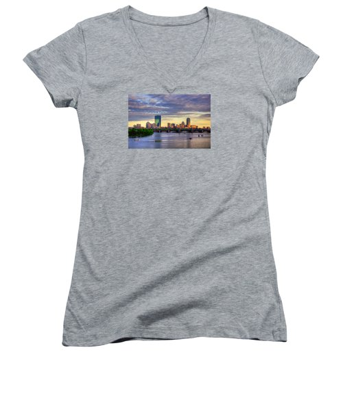 Boston Skyline Sunset Over Back Bay Women's V-Neck T-Shirt (Junior Cut) by Joann Vitali