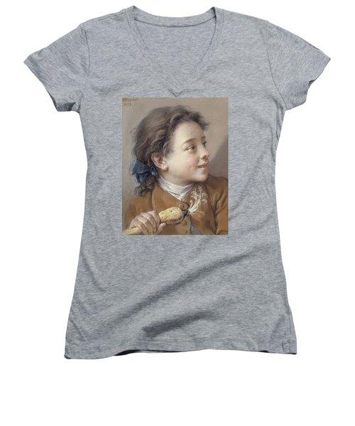 Boy With A Carrot, 1738 Women's V-Neck T-Shirt (Junior Cut) by Francois Boucher