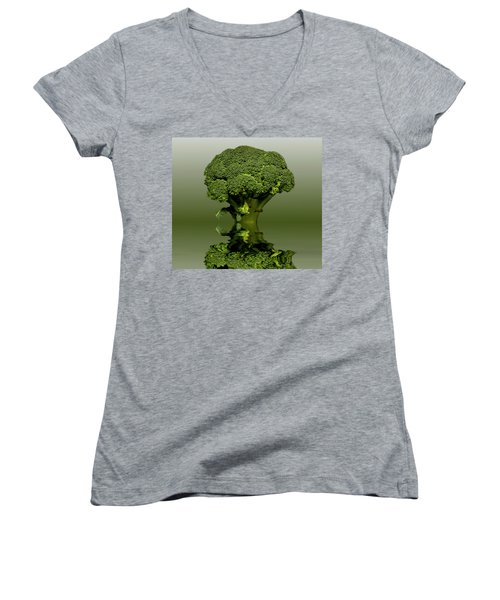 Broccoli Green Veg Women's V-Neck T-Shirt (Junior Cut) by David French