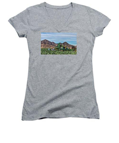 Broccoli Harvest Women's V-Neck T-Shirt (Junior Cut) by Robert Bales