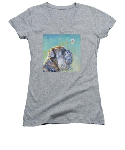 Brussels Griffon With Butterfly Women's V-Neck T-Shirt (Junior Cut) by Lee Ann Shepard