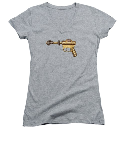 Buck Rogers Ray Gun Women's V-Neck T-Shirt (Junior Cut) by YoPedro