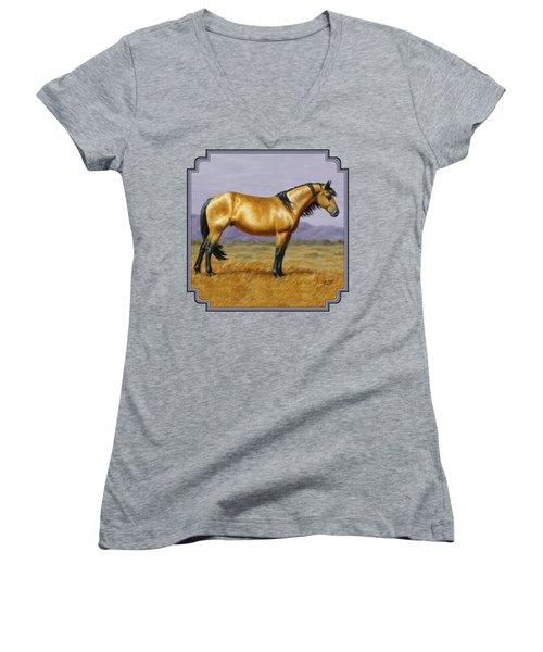 Buckskin Mustang Stallion Women's V-Neck T-Shirt (Junior Cut) by Crista Forest