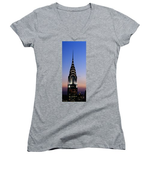 Building Lit Up At Twilight, Chrysler Women's V-Neck T-Shirt (Junior Cut) by Panoramic Images