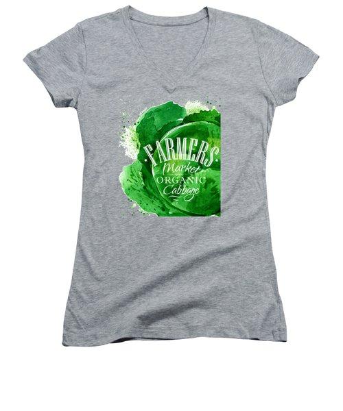 Cabbage Women's V-Neck T-Shirt (Junior Cut) by Aloke Design