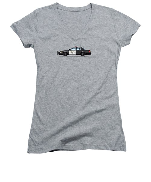 California Highway Patrol Ford Crown Victoria Police Interceptor Women's V-Neck T-Shirt (Junior Cut) by Monkey Crisis On Mars