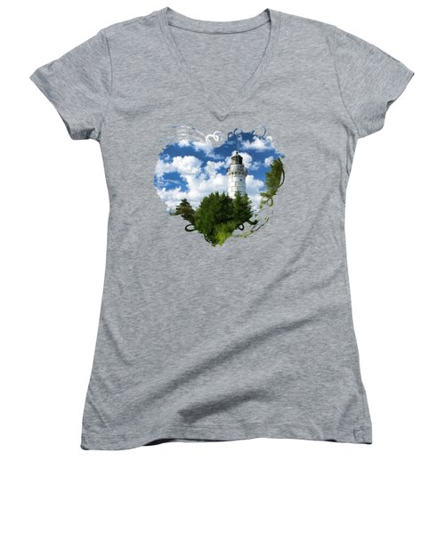 Cana Island Lighthouse Cloudscape In Door County Women's V-Neck T-Shirt (Junior Cut) by Christopher Arndt