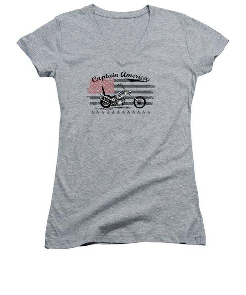 Captain America Women's V-Neck T-Shirt (Junior Cut) by Mark Rogan