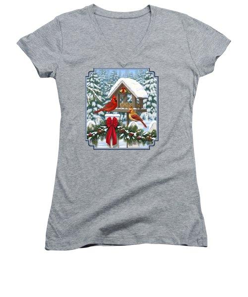 Cardinals Christmas Feast Women's V-Neck T-Shirt (Junior Cut) by Crista Forest