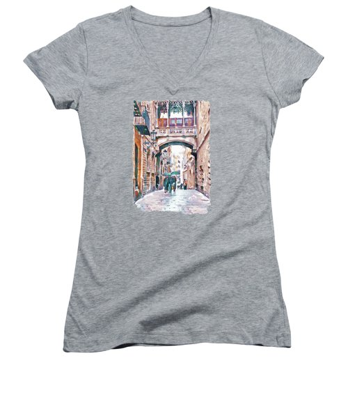 Carrer Del Bisbe - Barcelona Women's V-Neck T-Shirt (Junior Cut) by Marian Voicu