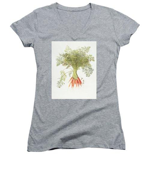Carrots Women's V-Neck T-Shirt (Junior Cut) by Margaret Ann Eden