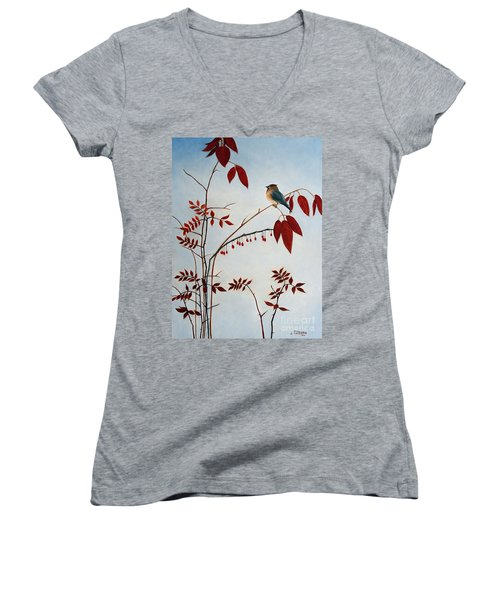 Cedar Waxwing Women's V-Neck T-Shirt (Junior Cut) by Laura Tasheiko