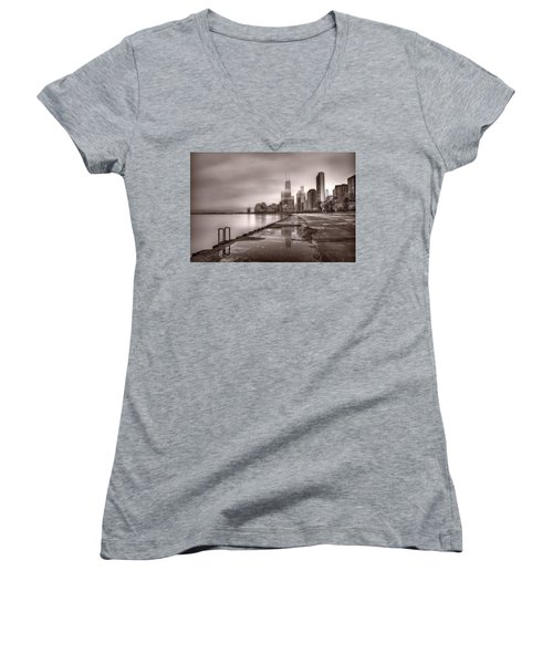 Chicago Foggy Lakefront Bw Women's V-Neck T-Shirt (Junior Cut) by Steve Gadomski