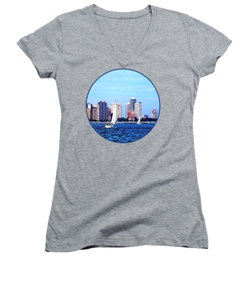 Chicago Il - Two Sailboats Against Chicago Skyline Women's V-Neck T-Shirt (Junior Cut) by Susan Savad