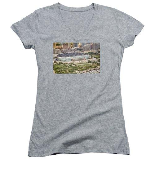 Chicago's Soldier Field Aerial Women's V-Neck T-Shirt (Junior Cut) by Adam Romanowicz