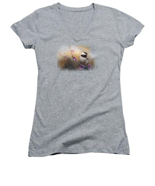 Chickadee And Pink Blooms Women's V-Neck T-Shirt (Junior Cut) by Jai Johnson