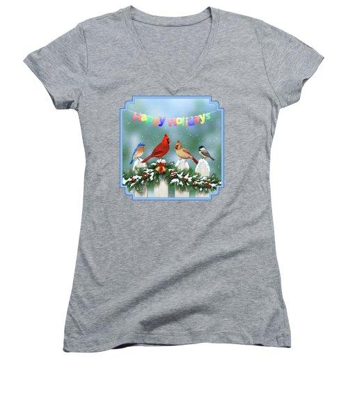 Christmas Birds And Garland Women's V-Neck T-Shirt (Junior Cut) by Crista Forest