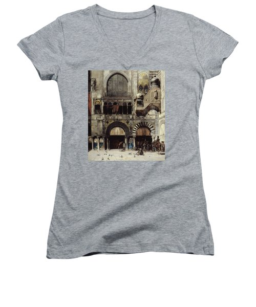 Circassian Cavalry Awaiting Their Commanding Officer At The Door Of A Byzantine Monument Women's V-Neck T-Shirt (Junior Cut) by Alberto Pasini