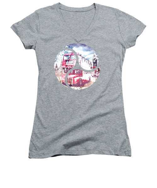 City-art London Red Buses On Westminster Bridge Women's V-Neck T-Shirt (Junior Cut) by Melanie Viola