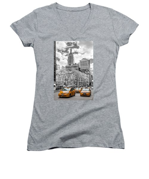 City Of Cabs Women's V-Neck T-Shirt (Junior Cut) by Az Jackson