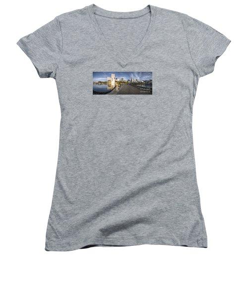 Cleveland Panorama Women's V-Neck T-Shirt (Junior Cut) by James Dean