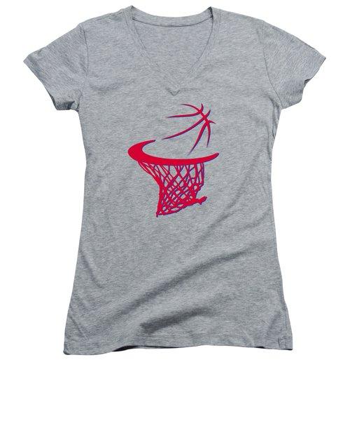 Clippers Basketball Hoop Women's V-Neck T-Shirt (Junior Cut) by Joe Hamilton