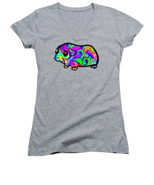 Colorful Guinea Pig Women's V-Neck T-Shirt (Junior Cut) by Chris Butler