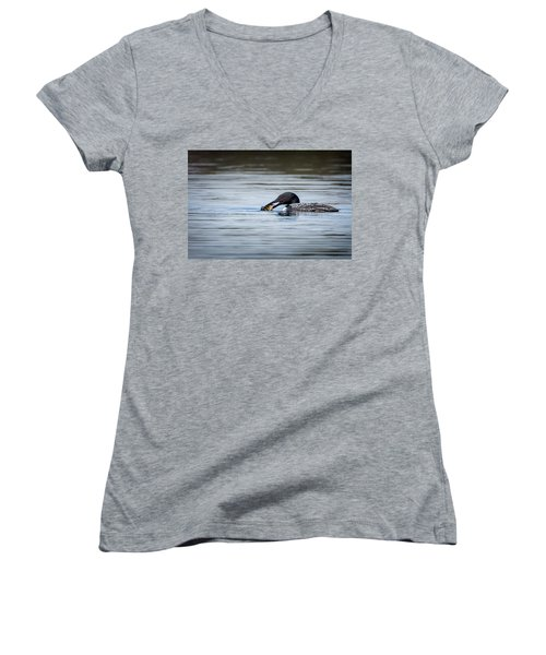 Common Loon Women's V-Neck T-Shirt (Junior Cut) by Bill Wakeley