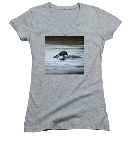 Common Loon Square Women's V-Neck T-Shirt (Junior Cut) by Bill Wakeley