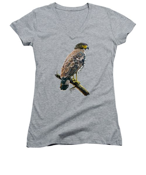 Congo Serpent Eagle Women's V-Neck T-Shirt (Junior Cut) by Anthony Mwangi