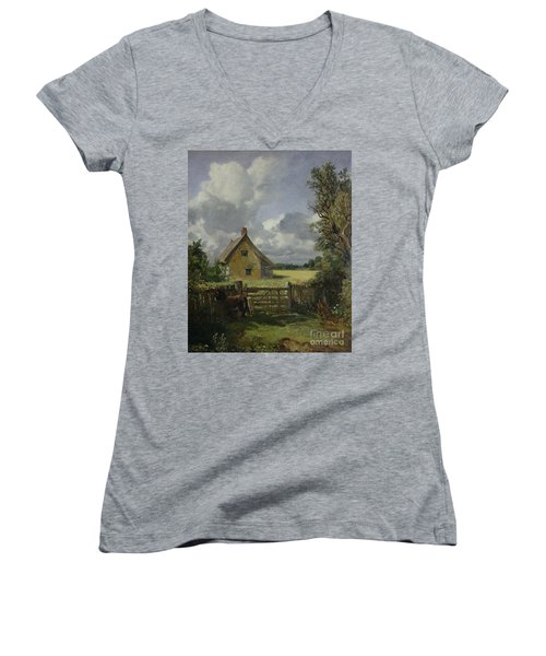 Cottage In A Cornfield Women's V-Neck T-Shirt (Junior Cut) by John Constable