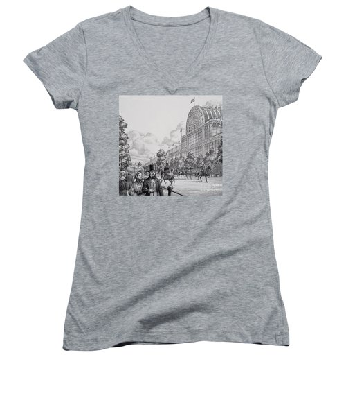Crystal Palace Women's V-Neck T-Shirt (Junior Cut) by Pat Nicolle