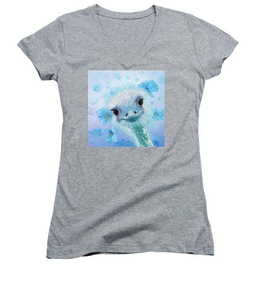 Curious Ostrich Women's V-Neck T-Shirt (Junior Cut) by Jan Matson