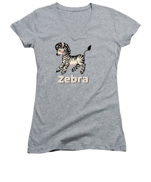 Cute Baby Zebra Pattern Vintage Book Illustration Pattern Women's V-Neck T-Shirt (Junior Cut) by Tina Lavoie