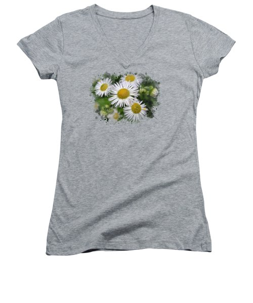 Daisy Watercolor Art Women's V-Neck T-Shirt (Junior Cut) by Christina Rollo