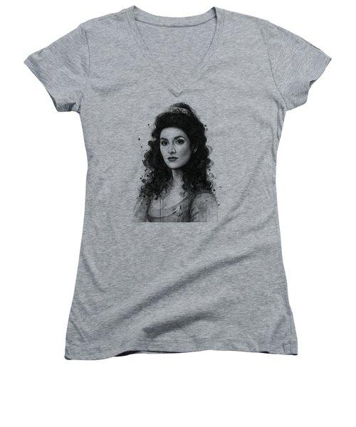 Deanna Troi - Star Trek Fan Art Women's V-Neck T-Shirt (Junior Cut) by Olga Shvartsur
